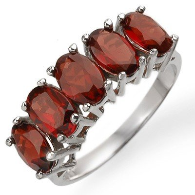 Genuine 3.0 ctw Garnet Ring 10K White Gold
