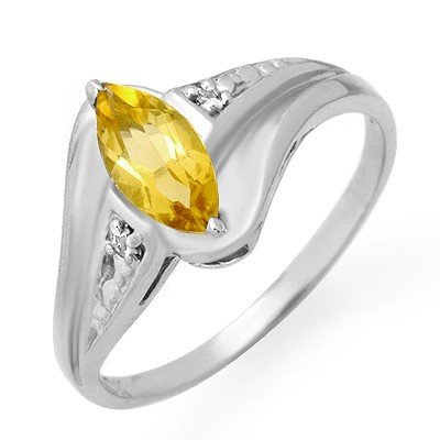 Genuine 0.36 ctw Citrine & Diamond Ring 10K White Gold