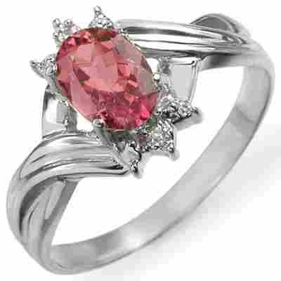 Genuine 0.79 ctw Pink Tourmaline & Diamond Ring Gold