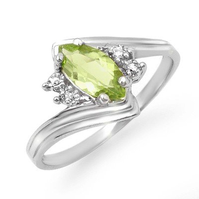 Genuine 0.48 ctw Peridot & Diamond Ring 10K White Gold