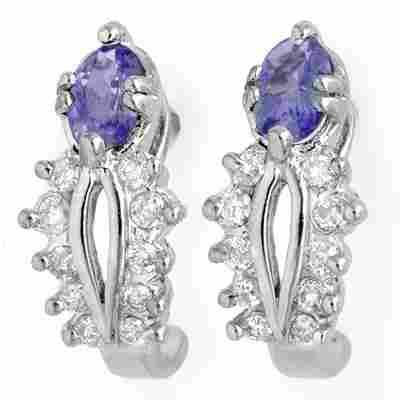 Genuine 0.80 ctw Tanzanite & Diamond Earrings 10K Gold