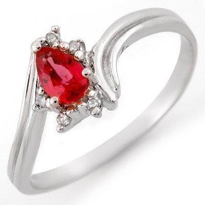 Genuine 0.35ctw Red Sapphire & Diamond Ring White Gold