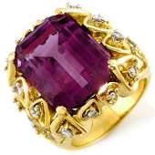 Genuine 144ctw Amethyst  Diamond Ring 10K Yellow Gold