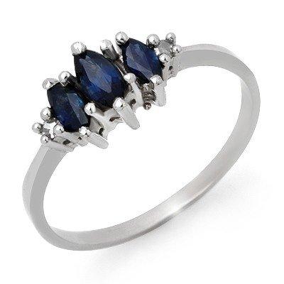 Genuine 0.66 ctw Sapphire & Diamond Ring 10K White Gold