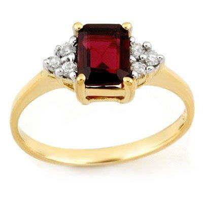 Genuine 1.12 ctw Garnet & Diamond Ring 10K Yellow Gold