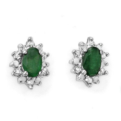 Genuine 0.61 ctw Emerald & Diamond Earrings Yellow Gold
