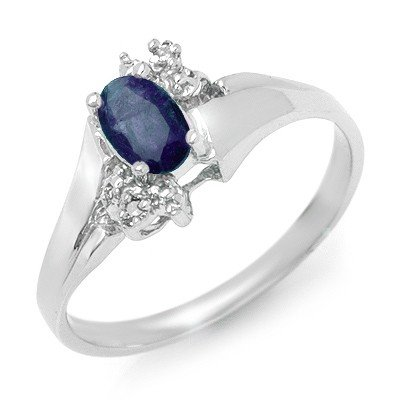 Genuine 0.77 ctw Sapphire & Diamond Ring 10K White Gold