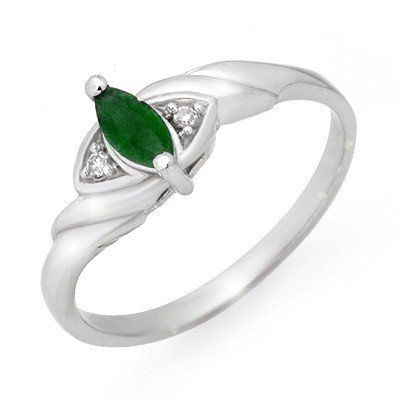 Genuine 0.26 ctw Emerald & Diamond Ring 10K White Gold