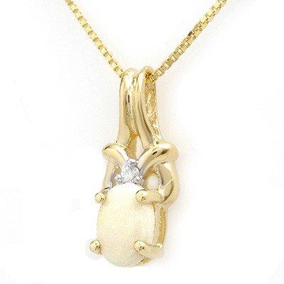 Genuine 0.50ctw Opal & Diamond Pendant 10K Yellow Gold