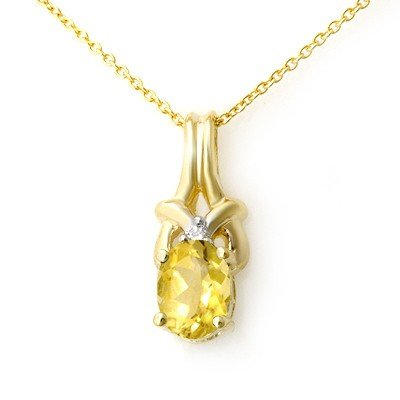 Genuine 0.67 ctw Citrine & Diamond Pendant Yellow Gold