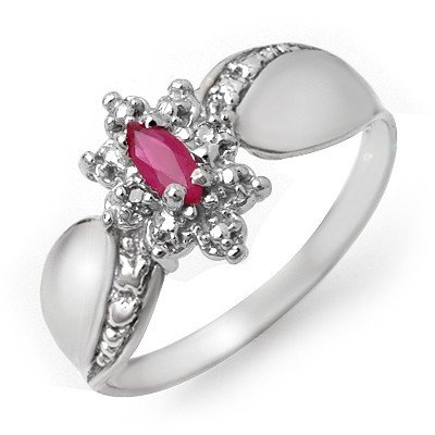 Genuine 0.24 ctw Ruby & Diamond Ring 10K White Gold
