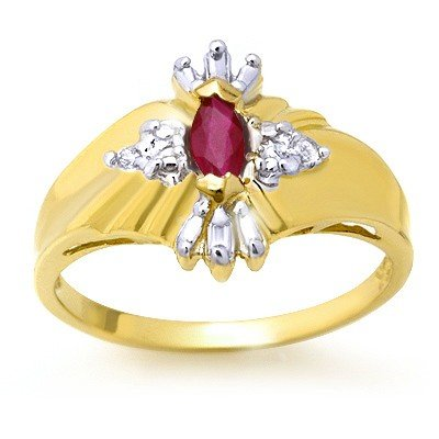 Genuine 0.22 ctw Ruby & Diamond Ring 10K Yellow Gold