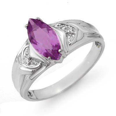 Genuine 1.07 ctw Amethyst & Diamond Ring 10K White Gold