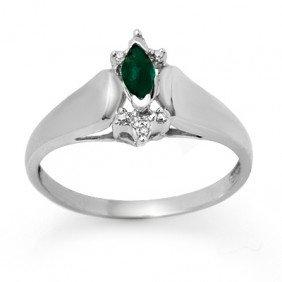 Genuine 0.22 Ctw Emerald & Diamond Ring 10K White Gold
