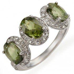 Genuine 3.08 Ctw Green Tourmaline & Diamond Ring Gold