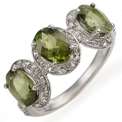 Genuine 3.08 ctw Green Tourmaline & Diamond Ring Gold