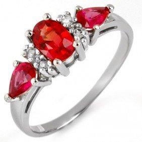 Genuine 1.33 Ctw Red Sapphire & Diamond Ring 10K White