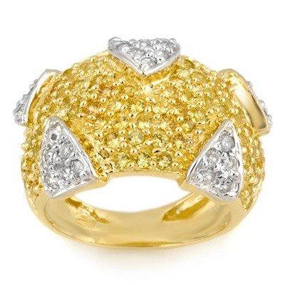 Genuine 5.0 ctw Yellow Sapphire & Diamond Ring 14K Yell
