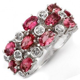 Genuine 3.2 Ctw Pink Tourmaline & Diamond Ring Gold