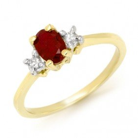 Genuine 1.36 Ctw Ruby & Diamond Ring 10K Yellow Gold