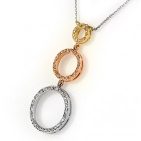 Natural 1.0 Ctw Diamond Necklace 14K Multi Tone Gold