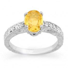 Genuine 2.28ctw Yellow Sapphire & Diamond Ring 14K Gold