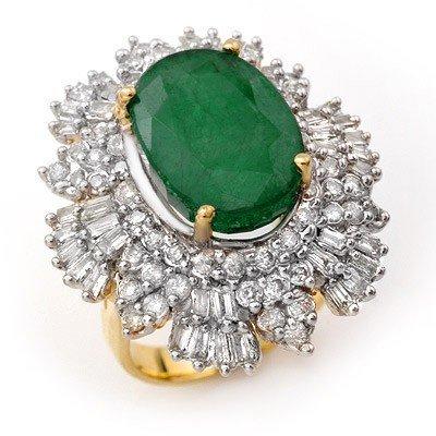 Genuine 11.65ctw Emerald & Diamond Ring 14K Yellow Gold