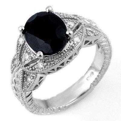 Genuine 4.25 ctw Blue Sapphire & Diamond Ring 10K White