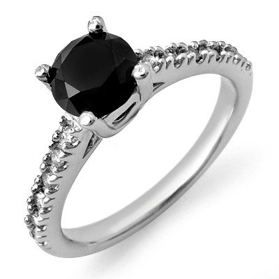 Natural 1.72 ctw White & Black Diamond Ring 14K Gold