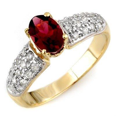 Genuine 1.50ctw Pink Tourmaline & Diamond Ring 10K Gold