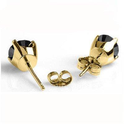 Natural 0.50 ctw Black Diamond Stud Earrings 14K Gold