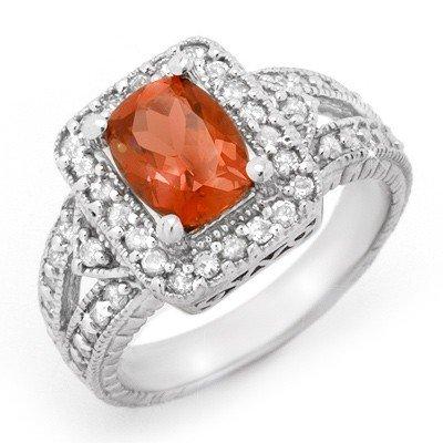 Genuine 2.85ctw Rubellite & Diamond Ring 14K White Gold