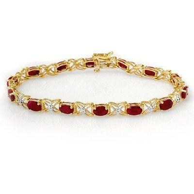 Genuine 8.55 ctw Ruby & Diamond Bracelet Yellow Gold
