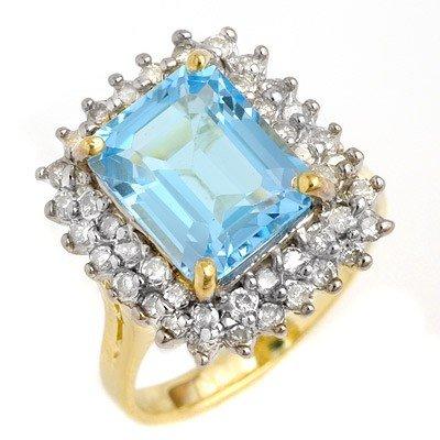 Genuine 5.1 ctw Blue Topaz & Diamond Ring 14K Gold