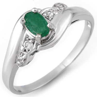 Genuine 0.42 ctw Emerald & Diamond Ring 10K White Gold