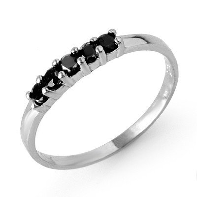 Natural 0.25 ctw Black Diamond Ring 10K White Gold