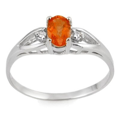 Genuine 0.77 ctw Orange Sapphire & Diamond Ring Gold