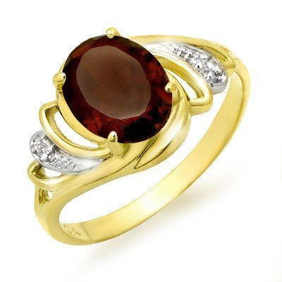 Genuine 2.03 ctw Garnet & Diamond Ring 10K Yellow Gold