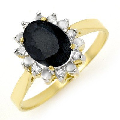 Genuine 1.91ctw Sapphire & Diamond Ring 10K Yellow Gold