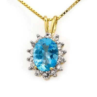Genuine 1.0 ctw Blue Topaz & Diamond Pendant 10K Gold