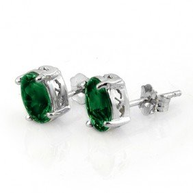 Genuine 2.0 ctw Emerald Stud Earrings 14K White Gold