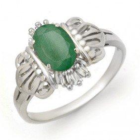 Genuine 0.81 ctw Emerald & Diamond Ring 10K White Gold
