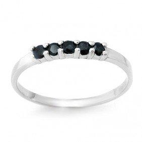 Genuine 0.25 Ctw Sapphire Ring 10K White Gold