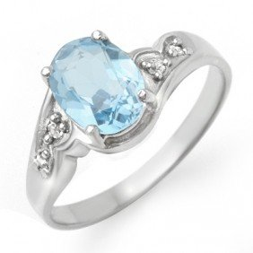 Genuine 1.26 Ctw Blue Topaz & Diamond Ring 10K Gold