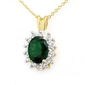 Genuine 1.80 ctw Emerald & Diamond Pendant Yellow Gold