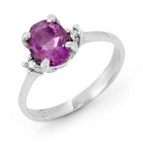 Genuine 1.53 ctw Amethyst & Diamond Ring 10K White Gold