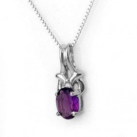 Genuine 0.77ctw Amethyst & Diamond Necklace White Gold