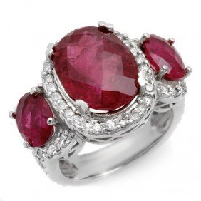 Genuine 10.0ctw Rubellite & Diamond Ring 10K White Gold