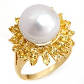 Genuine 1.50 Ctw Yellow Sapphire & Pearl Ring 10K Yello