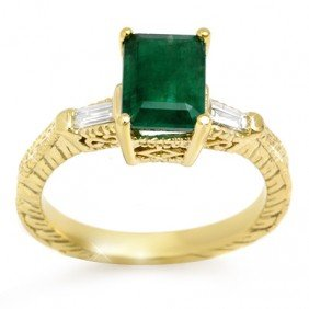 Genuine 2.45 Ctw Emerald & Diamond Ring 10K Yellow Gold